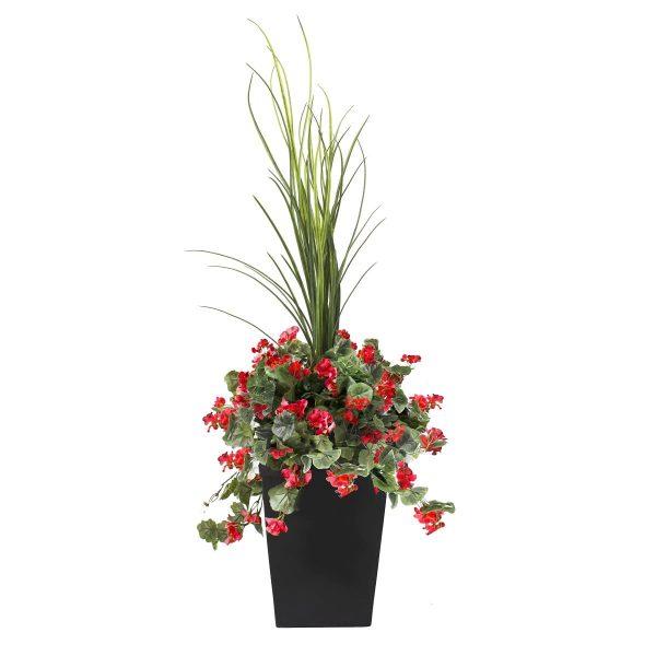 Géraniums-rouges-en-pot-decoration-exterieur-fausse_plante meuble de jardin