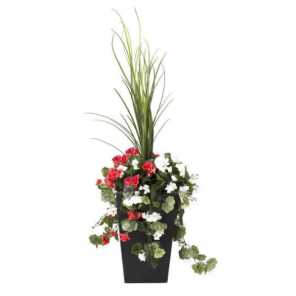 Géraniums-rouge-blanc-en-pot-decoration-exterieur-fausse_plante meuble de jardin
