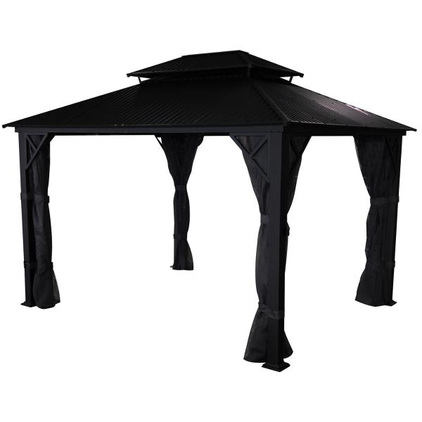 gazebo noir a toit rigide Metropolis