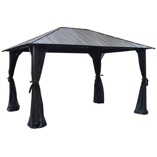 gazebo seoul noir à toit rigide