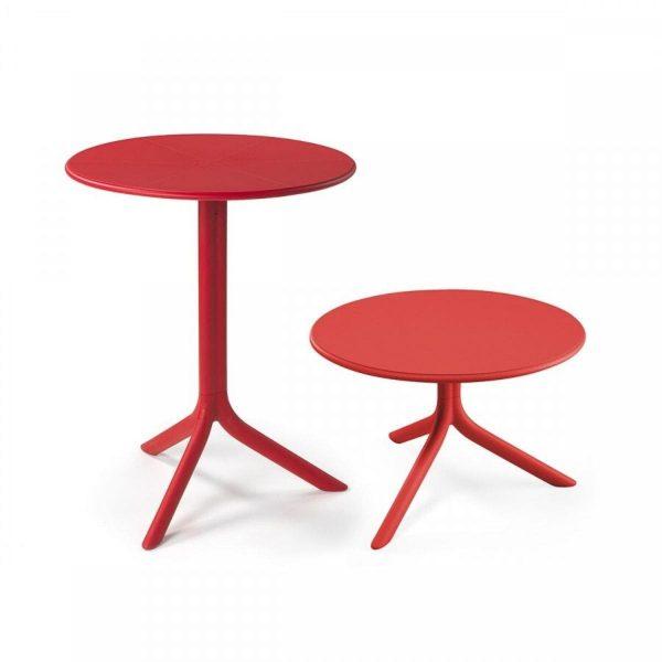 Table d'extérieur ronde Spritz rouge pour meubler le patio