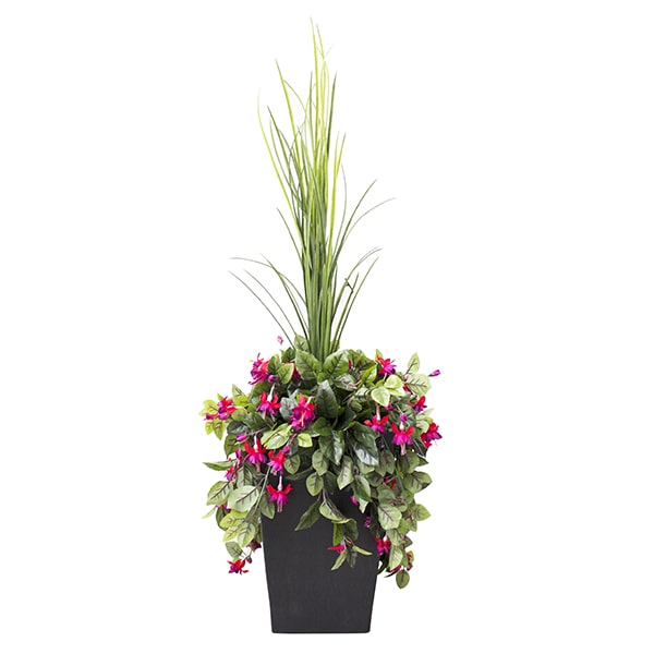 ARRANGEMENT-FLORAL-AVEC-DRACAENA-ET-COEUR-SAIGNANT-decoration-exterieur-fausse_plante meuble de jardin