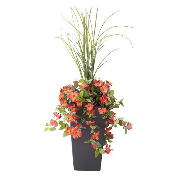 Arrangement-Hibiscus-orange-decoration-exterieur-fausse_plante meuble de jardin