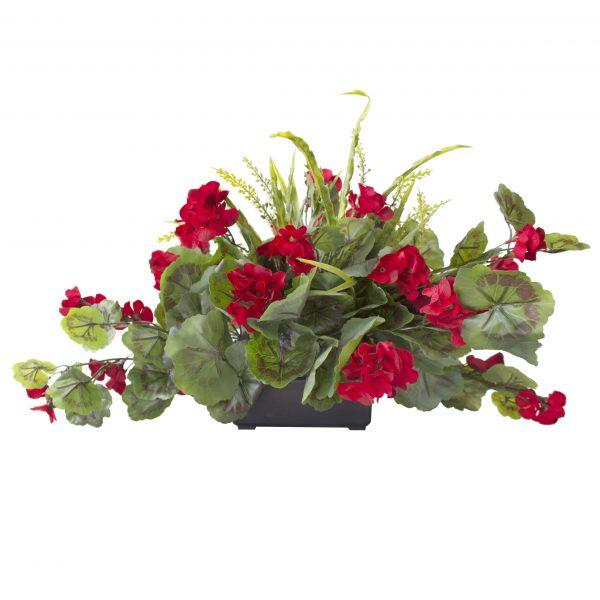 Centre_de_table-geraniums_rouges-decoration-exterieur-fausse_plante