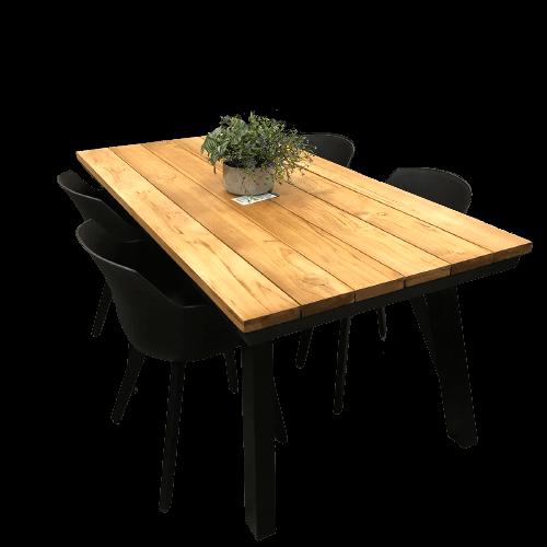 meuble de patio comprenant une table d'extérieur en teck