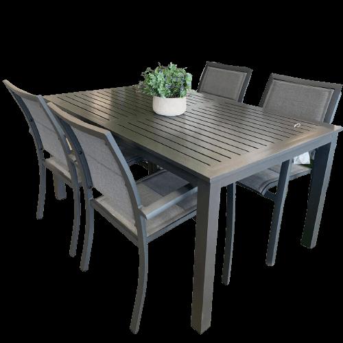 ensemble à diner avec chaises et table extérieur noir