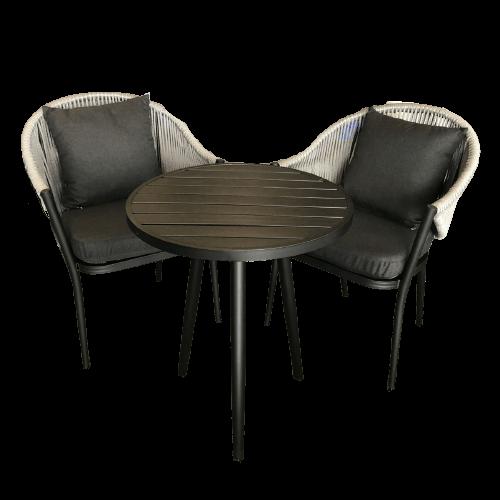 ensemble de meuble d'extérieur pour diner avec table ronde et chaises avec rotin noir